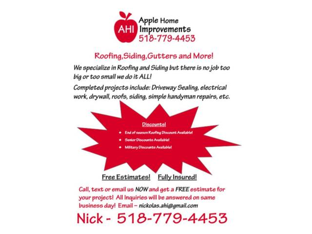 Call Apple now for your Home Improvement needs! Albany NY New York